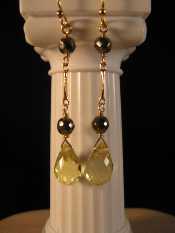 Gemstone Dangle earrings, gemstone earrings, citrine earrings, gemstone jewelry, gold earrings, dangle earrings, drop earrings, citrine
