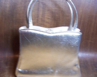 Vintage Gold Vinyl Handbag with Rhinestone Snap Closure Signed HL