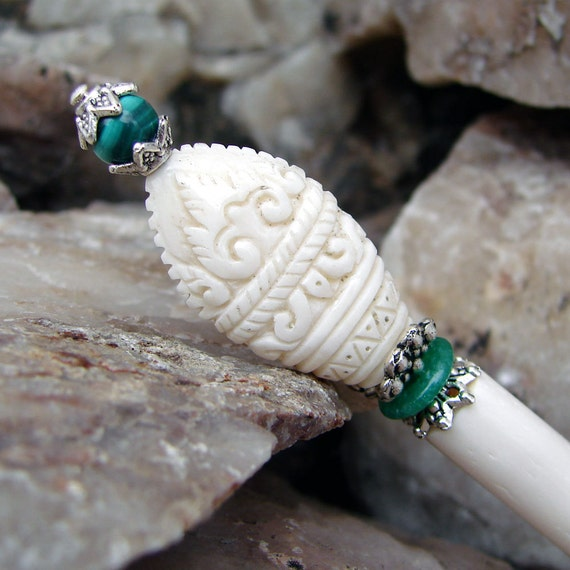 Hand Carved Bone Hair Stick with Malachite Gemstones from Bali - Tjokorda