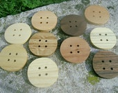 Wood Buttons - 10 MIXED XXL Handcrafted Wooden Buttons Beautiful Collection Size 2 inches in diameter