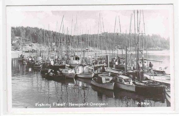 Fishing fleet boats newport oregon real photo by for Newport oregon fishing