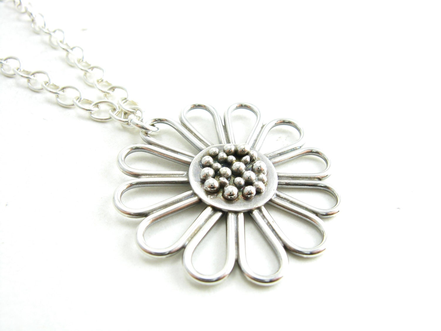 sterling silver handmade pendant necklace flower pendant