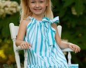 Aqua stripe print tie strap Dress sizes 12m, 18m, 2T, 5y, and 6y