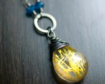 "Gold Rutilated Quartz London Blue Topaz Sterling Silver Necklace, Oxidized, Pendant, Yellow, Sunflower, Canary, Lemon - ""Sunbeam"""