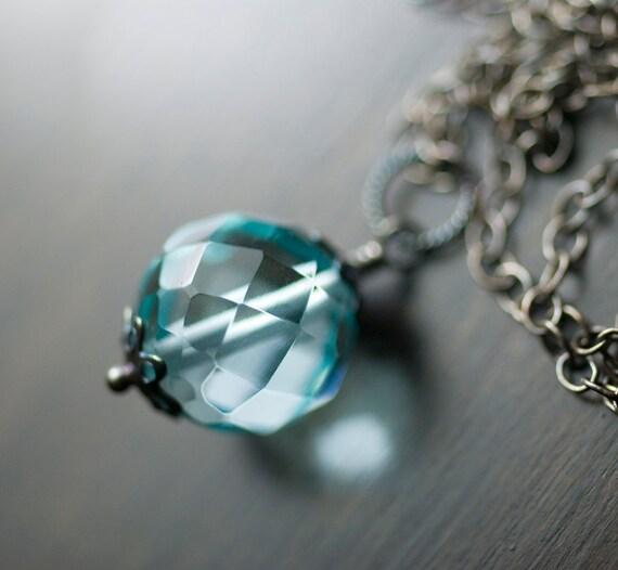 "Aqua Blue Quartz Necklace Sterling Silver Gemstone Wrapped Pendant Oxidized Ice Blue Carribean Sea - ""Blue Lagoon"""