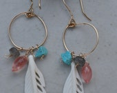 Dream Catcher Earrings. 14kt Gold Filled, Feather bone, Turquoise, Cherry Quartz, Labradorite