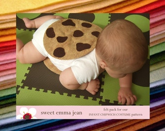 DIY Felt Chocolate Chip Cookie Chipwich Infant Halloween Costume Felt Pack - All the felt you need - Pattern included