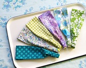 Wide Headbands Set of 3: Teal Periwinkle Green- Vintage Inspired Florals- Marbleized Lavender- Choose from 42 Patterns- Ready to Ship