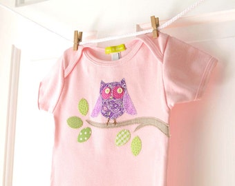 SALE 6-12m Baby Girls Pink Owl Onesie- Handmade Applique Owl Bodysuit- Baby Girl Shower Gift- Sale- clearance- LAST ONE