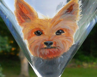 CUSTOM Yorkie Tini ~ Hand Painted Martini Glass ~ From YOUR PHOTOS ~ Yorkshire Terrier