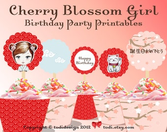 Birthday Party Printables - Cherry Blossom Girl Paper doll Cupcake Toppers and Wrappers PERSONALIZED