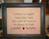 UNFRAMED Primitive Sampler Stitchery Picture New Mamaw Grandparent Present  Country Home Decor Rustic Gift Idea Sampler Stitched wvluckygirl