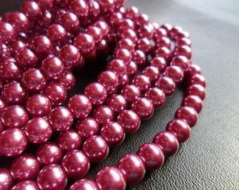 Wine Glass Pearls 6mm Round Full Strand (wine6)