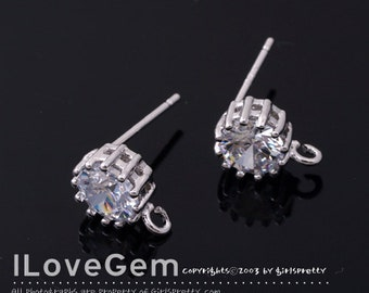 SALE/ 10pcs / NP-1480 Nickel Free Rhodium plated, 7mm CZ, Earrings, 925 sterling silver post