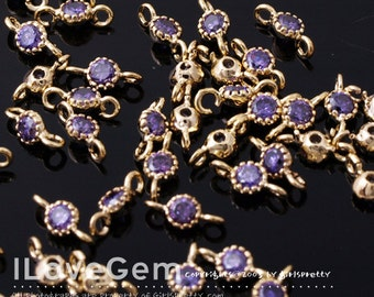 NP-1484 Gold plated, 3.5mm CZ, Connector, Birth Stone, Amethyst , 2pcs
