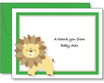 Custom Baby Lion Thank You Note Cards