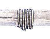 Black Leather Wrap Bracelet / Thin Gold Bracelet / Gold Nugget / Women's Bracelet