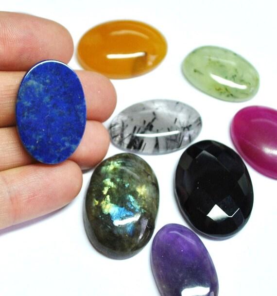 Natural Gemstone Cabochons Mix, Oval - 10 pcs Parcel - 370.1 ct - 120726-03