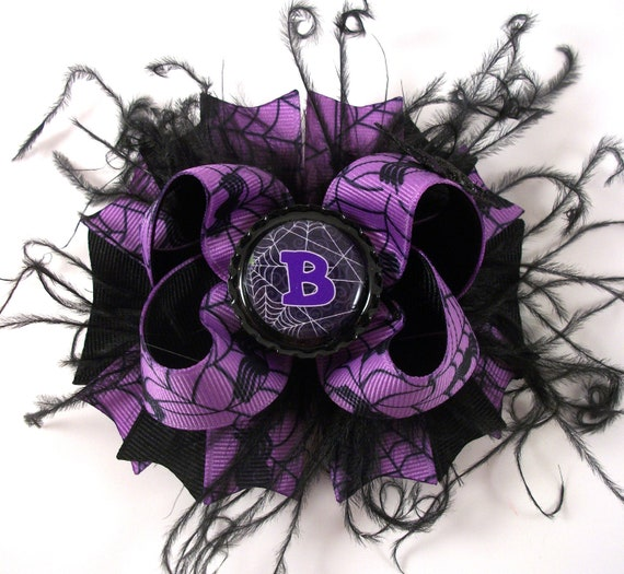 Spooky Purple and Black Bow Spider Bow Halloween Bow Curly Ostrich Boutique Bow with Personalized/Initial Bottle Cap Center