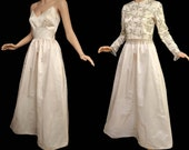 Vintage 60s Wedding Gown 1960s Ivory Wedding Dress Spaghetti Strap Silk Dress and Heavily Beaded Top with Beaded Fringe