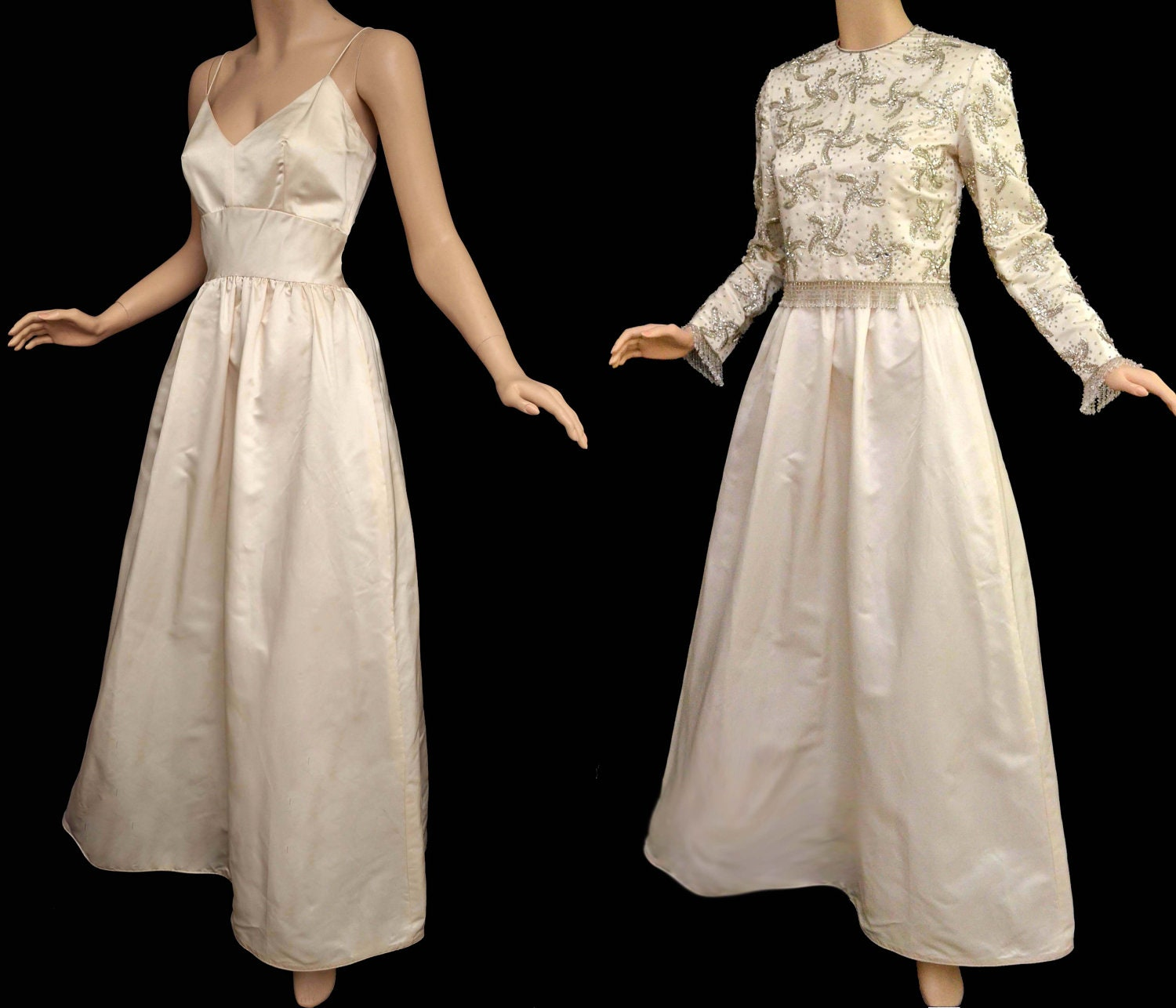 Vintage 60s wedding gown 1960s ivory wedding dress spaghetti for Vintage wedding dress 60s