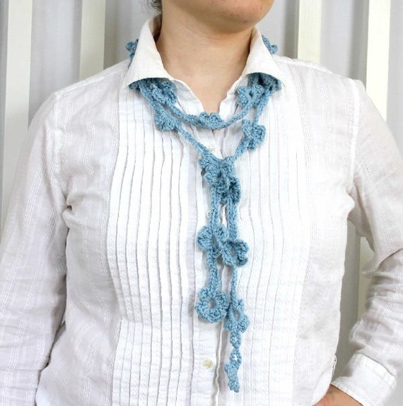 CLEARANCE half price Crocheted Floral Lariat Light Blue