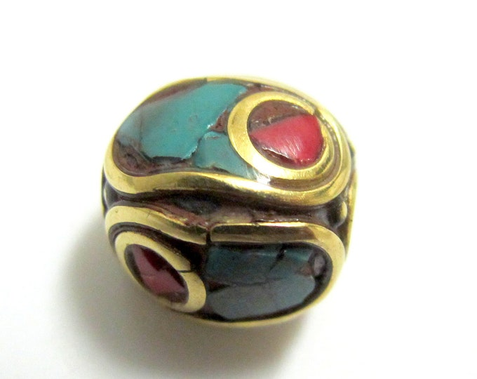 1 BEAD-Oval shape brass beads from Nepal with turquoise coral inlay - BD151