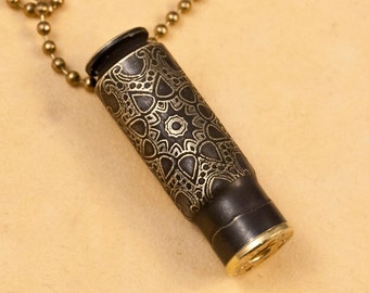 """Time capsule necklace - """"Starburst Medallion"""" etched bullet casing pendant - bullet jewelry"""