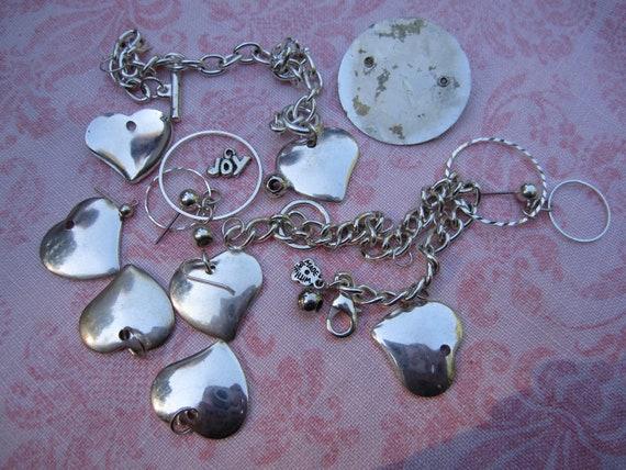 Destash silver tone chains and hearts components. Wholesale lot set of 19.