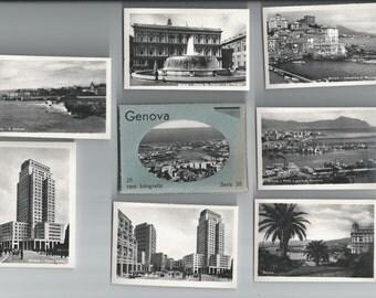 20 Black and White Souvenir Photos Genova Italy,Small Pictures, European Flair, Italian Towns,,Porta,Piazza,Italian Port,