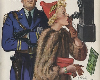 1937 Colliers' Front Page Only Policeman and Lady on Phone,Cop, Artist Drawn, Fur Coat, Old Fashioned Telephone, Collier's Magazine Page