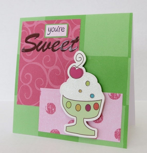 You're Sweet Ice Cream Sundae Christian Friendship Card With Scripture