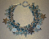 Handcrafted Embellished Aqua Iced Snow Flakes Falling Silver Beaded Charm Bracelet
