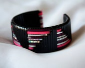 Black, Pink, and Silver Woven Cuff