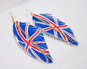 UK FLAG. British Flag Leather Feather Earrings. White Handpainted.