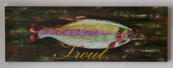 Fish original trout acrylic painting on reclaimed rustic solid wood board