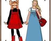 PDF - American Girl Doll Clothes Pattern - T-Shirt, Jumper Style Dress, Book-Bag - No. PDF-194