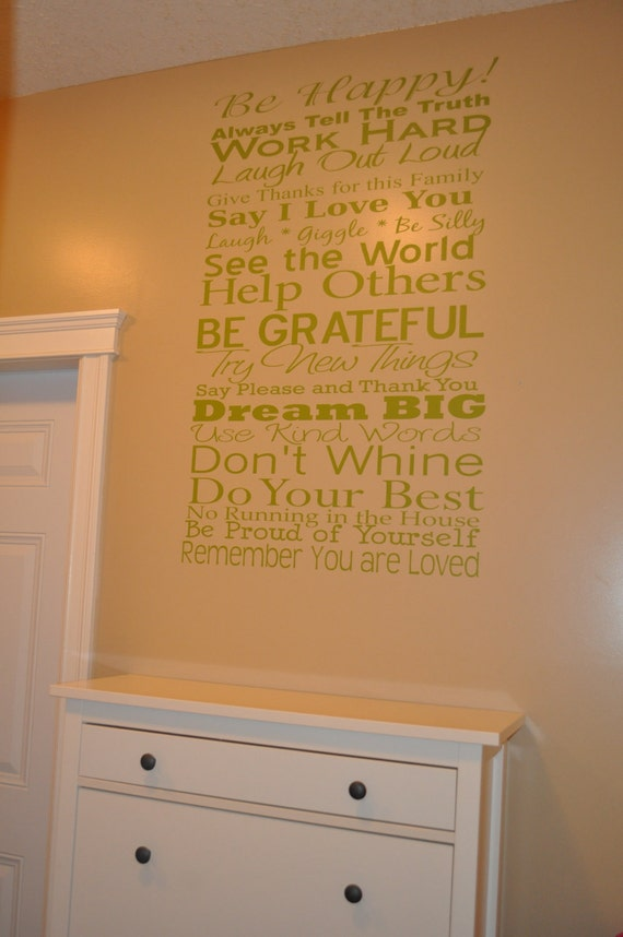 FAMILY RULES 27x44 Vinyl Decal Home Decor Door Wall Lettering Words Quotes