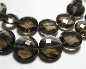 AAAA - High Quality - Gorgeous - Smockey Quartz Faceted Coin Shape Briolett Nice Clear sparkle - huge size - 10 - 12 mm - 8 inches strand