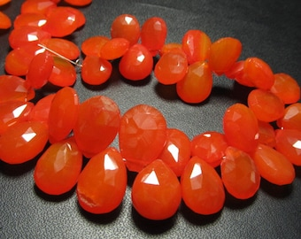 8 inches - Gorgeous Red Orange Carnelian Colour  CHALCEDONY - Faceted Pear Briolett Super Sparkle Huge Size - 9 - 14 mm approx