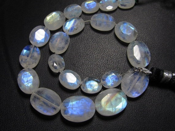 21 pcs - AAA -High Quality Rainbow MOONSTONE Faceted Oval Briolett Each Pcs Have Amazing Blue Fire Huge size 6.5x8- 10x13 mm-