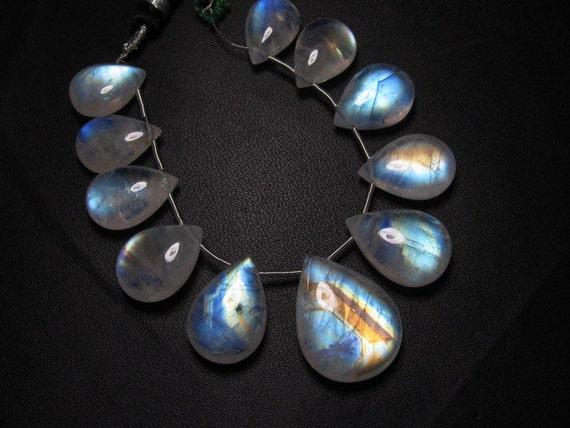 AAAA - high grade quality - Amazing Flashy Blue fire Rainbow moonstone Smooth pear briolett Huge size 10x14 -16.5x22 mm - 11pcs