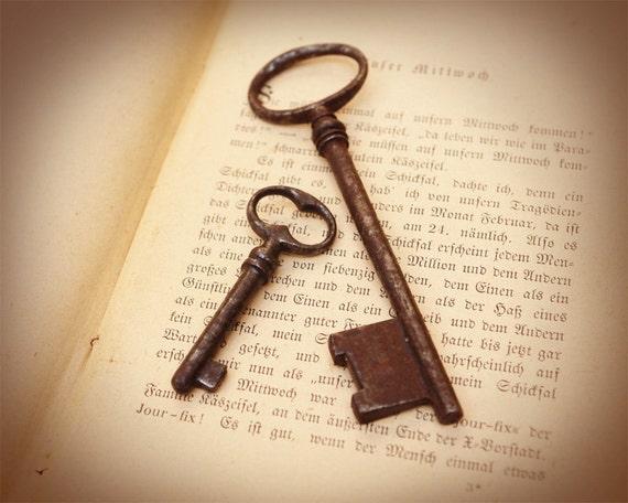 Secret Keys - Vintage Iron Keys - Very Old Antique Collectible Vintage Skeleton Keys from Europe.