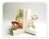 CROUCHING CLOWN Bookends - Crawling thru Books - JAPAN Mid Century Ceramic Childrens Peeking