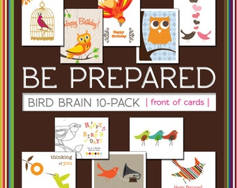 Bird Brain Be Prepared Pack of 10 Greeting Cards on 100% Recycled Paper