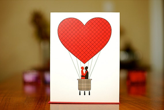 Red Heart Hot Air Balloon with Kissing Gay Couple on 100% Recycled Paper