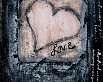 Heart Love PRINT of Mixed Media Original 6x8 'Grungy Love'