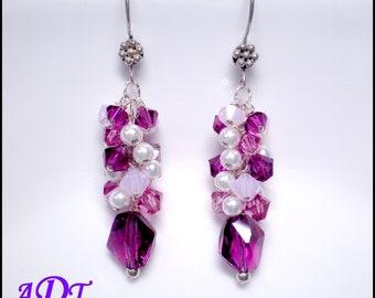 Swarovski Crystal Fuchsia and White Cluster Earrings...Crystal Waterfall Style Earrings in Fucshia,Rose and White