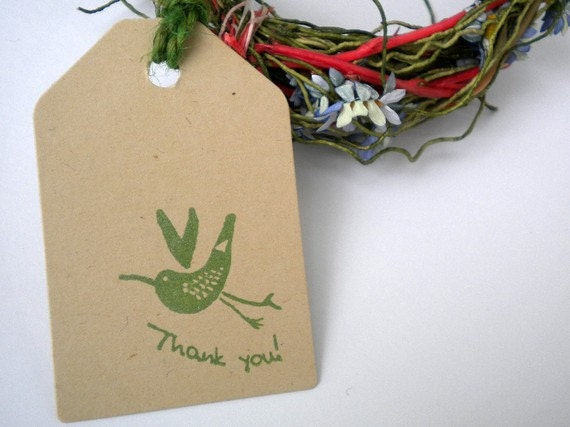 Thank You  Bird Olive Wood Stamp