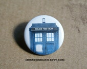 Tardis Blue Police Box Time Travel Doctor Who - Pinback Button Badge